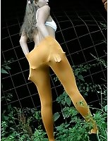 Teen In Orange Opaque Pantyhose Flashing At A Historical Ruin