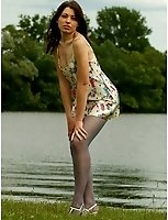 Teen In Blue Pantyhose At The Side Of A River